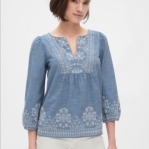 NWT GAP Embroidered Bib Front Blouse XXL